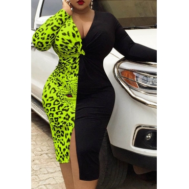 Lovely Leisure Leopard Printed Green Knee Length Plus Size Dress