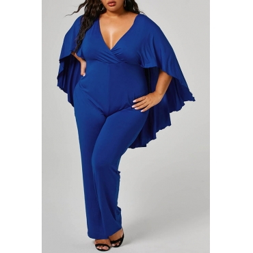 Lovely Casual Cloak Design Blue Plus Size One-piece Jumpsuit