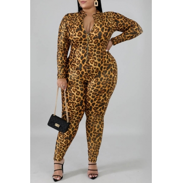 Lovely Trendy Mandarin Collar Leopard Printed Yellow Plus Size One-piece Jumpsuit