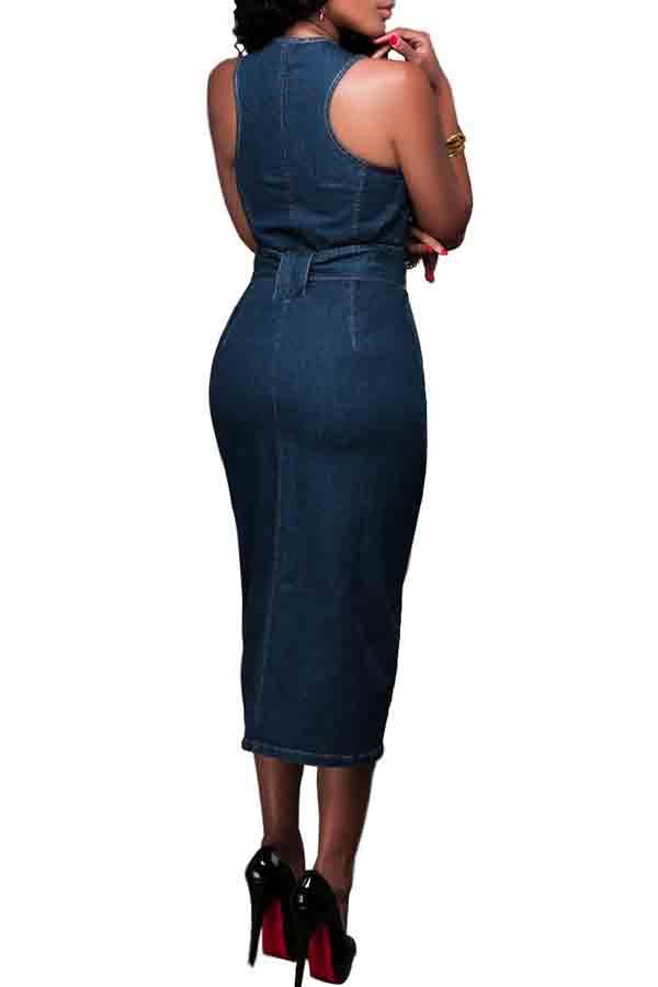 Lovely Casual Tank Zipper Design Blue Mid Calf Dress
