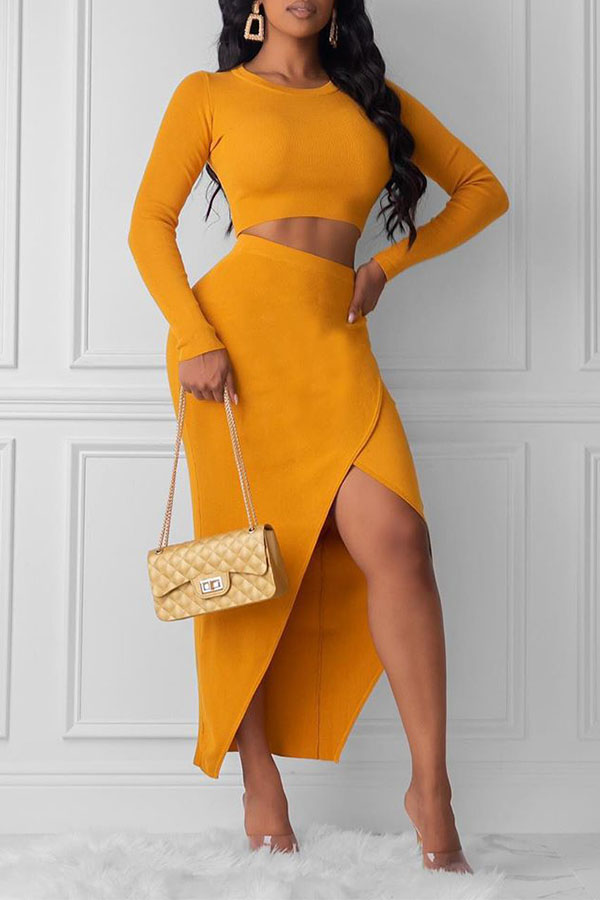 Lovely Street Asymmetrical Yellow Two-piece Skirt Set