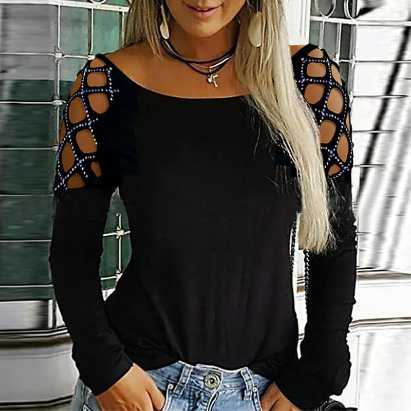 lovelywholesale / Cheap Blouses&Shirts Lovely Work Hollow-out Black Blouse