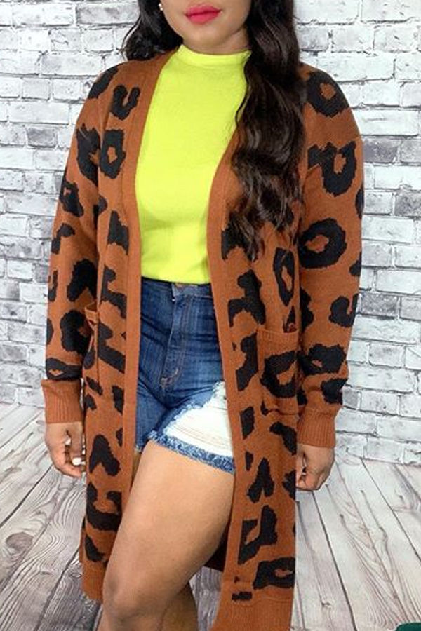 Lovely Casual Leopard Coffee Sweater