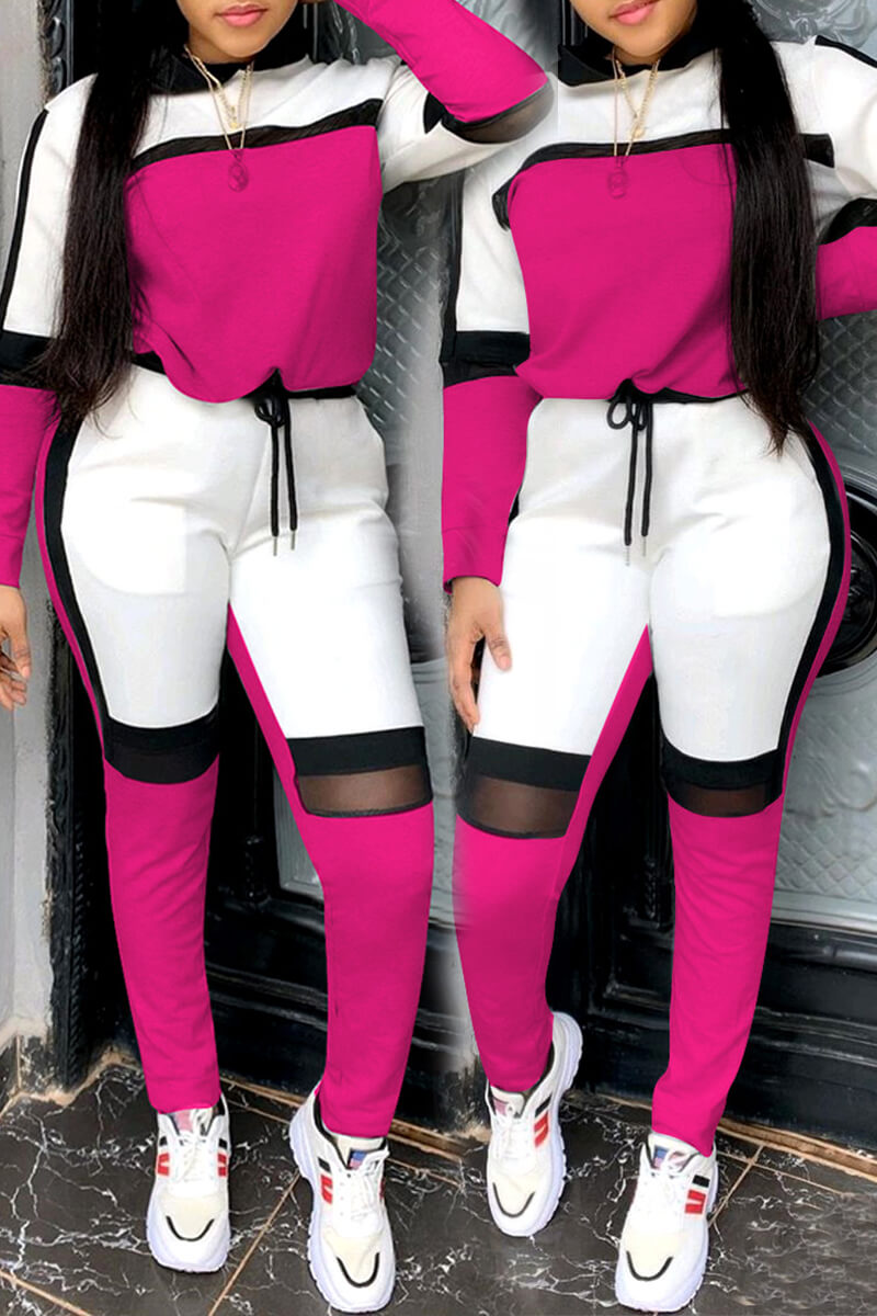 Lovely Sportswear Hooded Collar Patchwork Rose Red Two-piece Pants Set