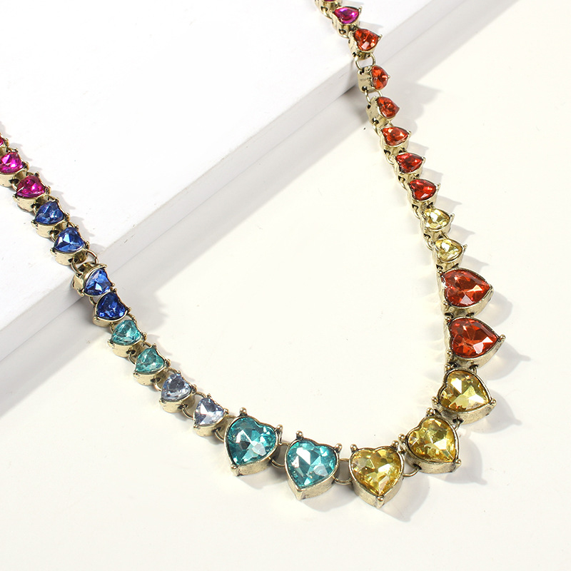 Lovely Trendy Rhinestone Decorative Multicolor Necklace