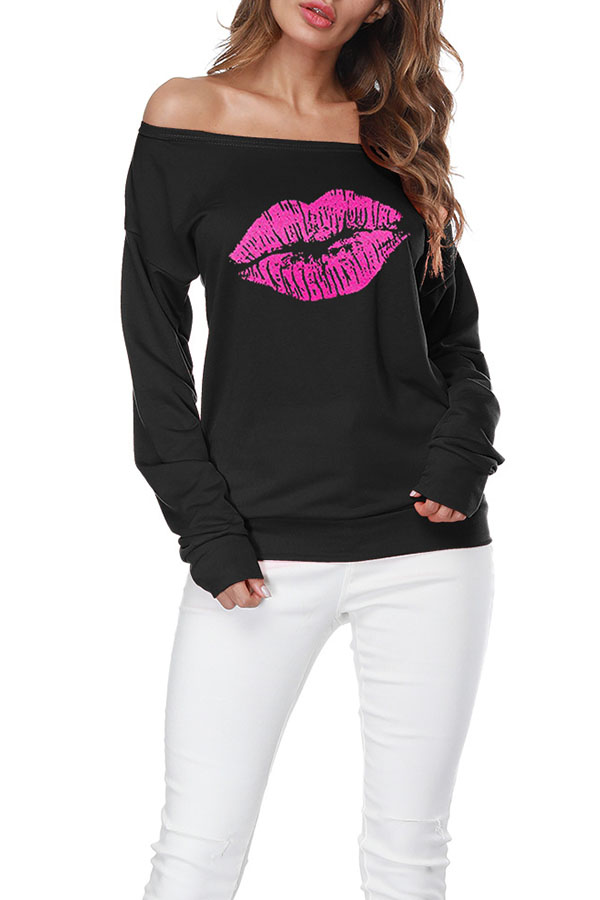 Lovely Casual Lip Printed Black Sweatshirt Hoodie