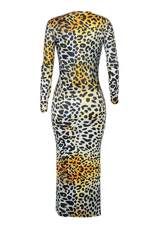Lovely Casual Leopard Printed Yellow Ankle Length Dress