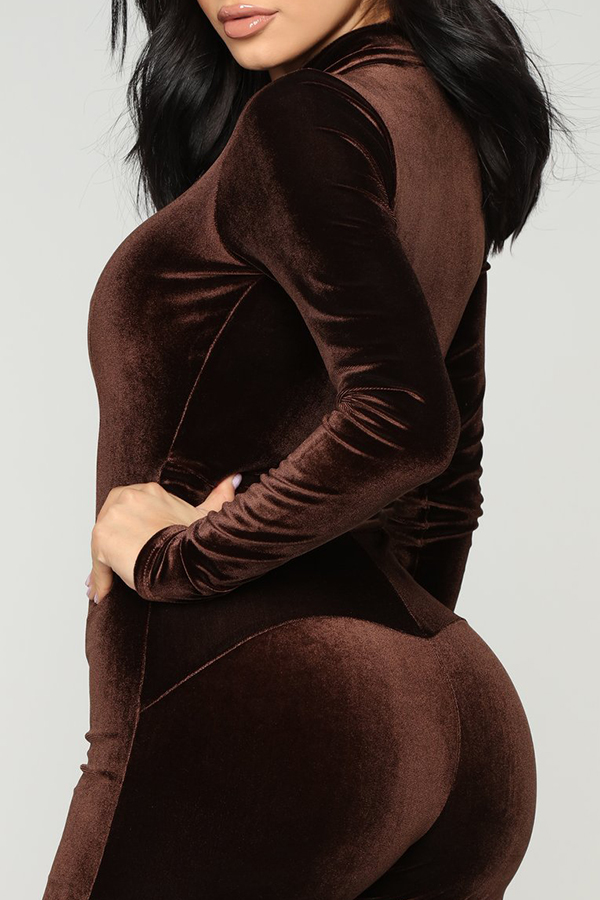 Lovely Casual Zipper Design Brown One-piece Jumpsuit