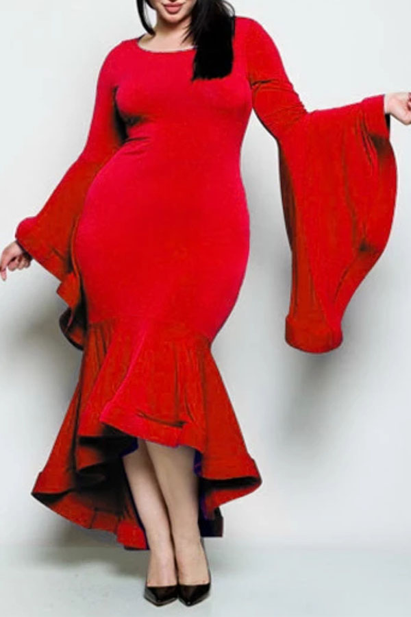 Lovely Casual Flounce Red Trumpet Mermaid Ankle Length Plus Size Dress