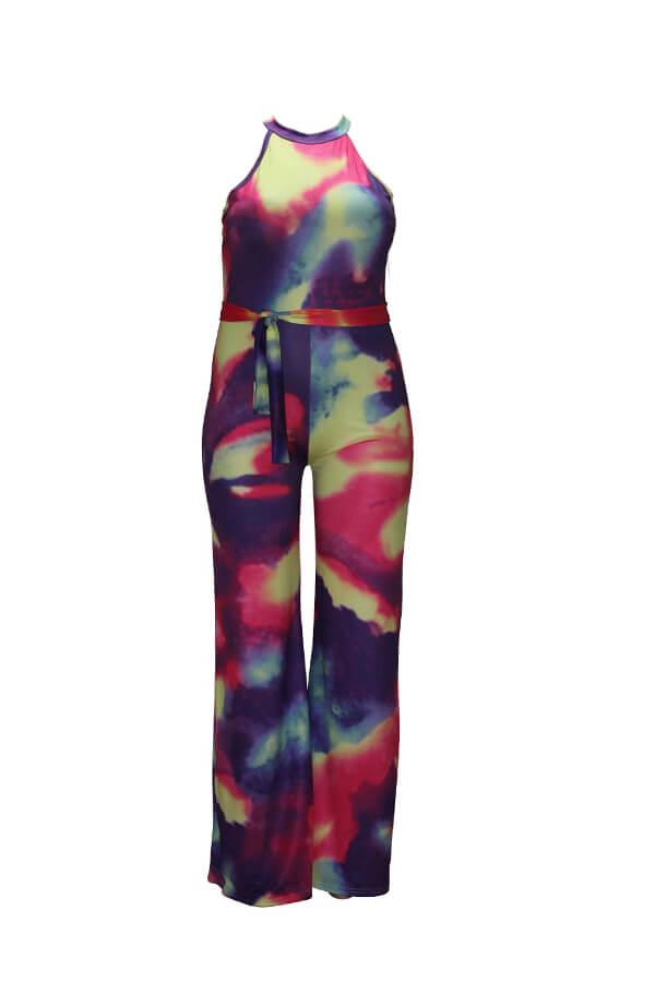 Lovely Leisure Tie-dye Multicolor Plus Size One-piece Jumpsuit
