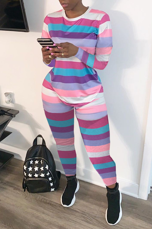 Lovely Casual Striped Two-piece Pants Set
