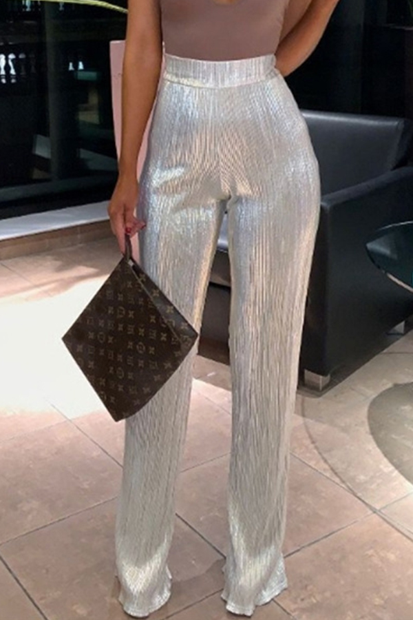 Lovely Trendy Loose Silver Pants
