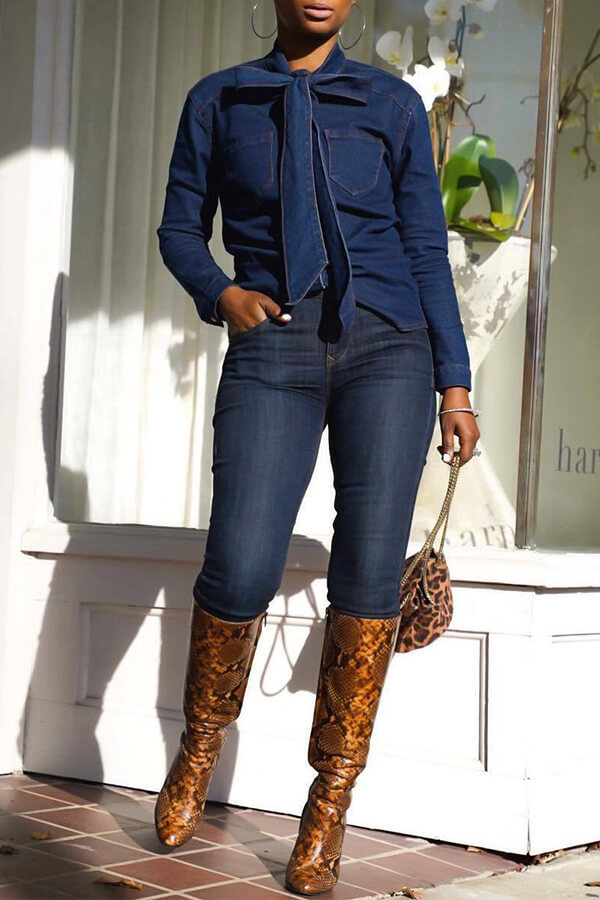 Lovely Trendy Lace-up Blue Blouse
