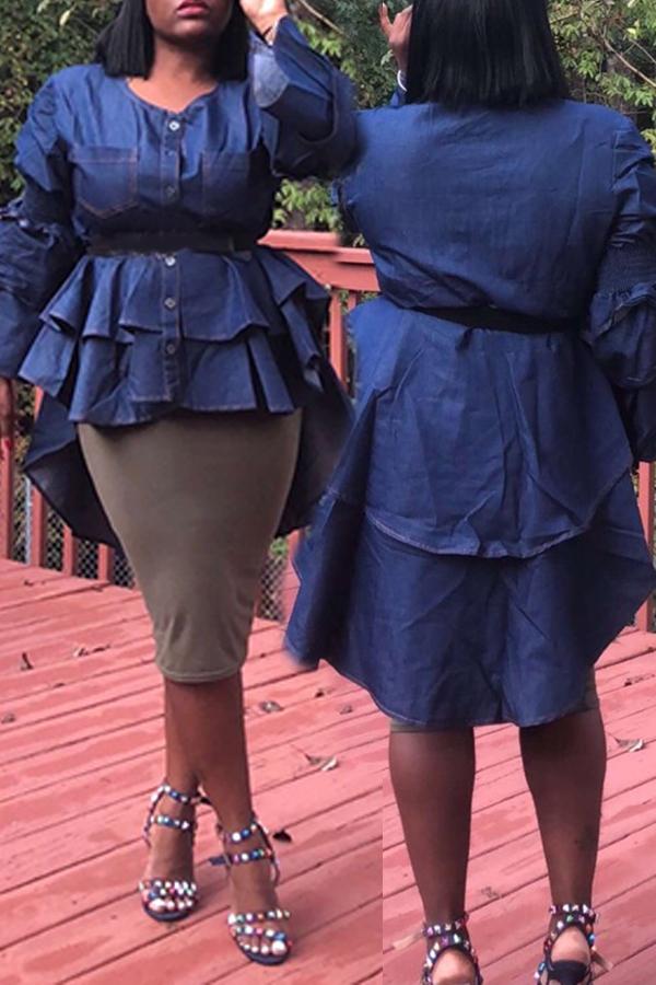 Lovely Trendy Flounce Design Blue Blouse
