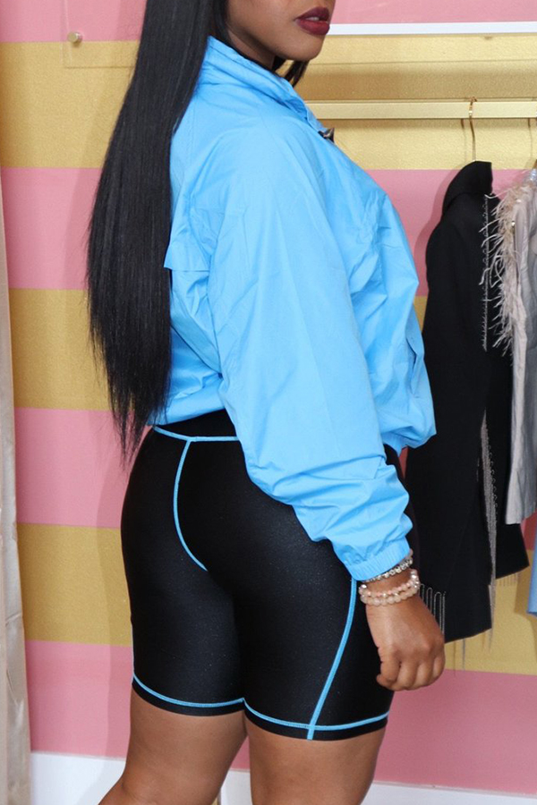 Lovely Casual Zipper Design Blue Coat