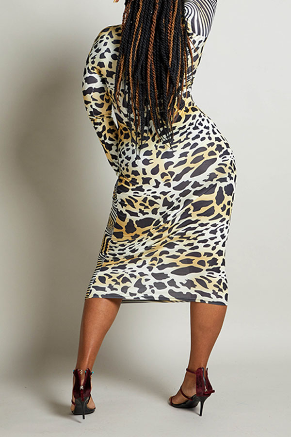 Lovely Chic Leopard Printed Patchwork Mid Calf Plus Size Dress