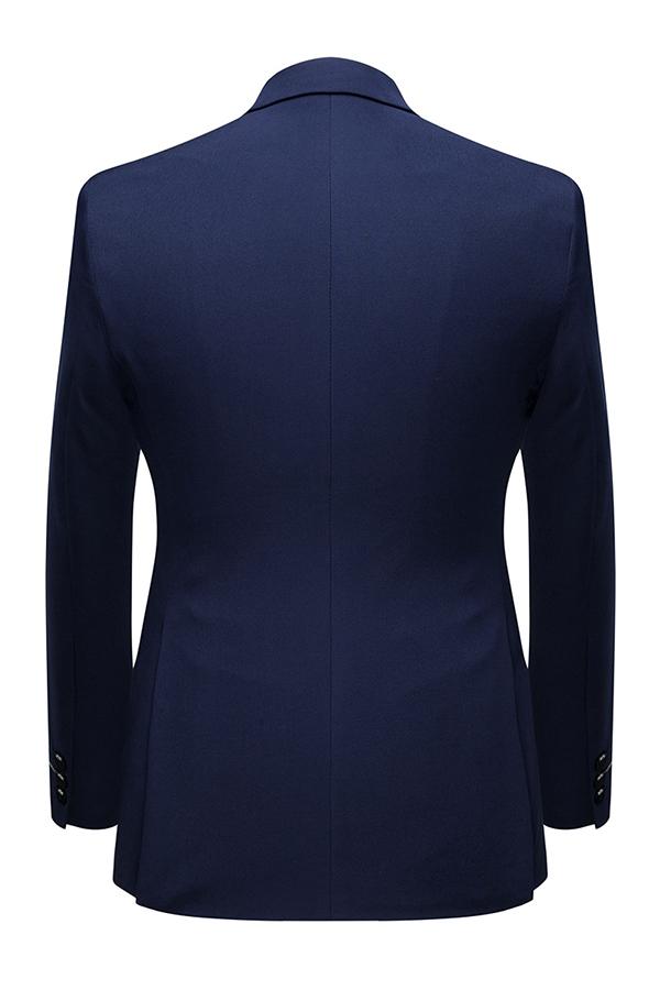 Lovely Trendy Turndown Collar Navy Blue Two-piece Pants Set