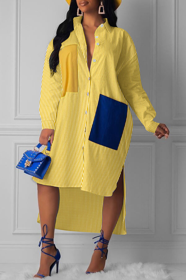 Lovely Casual Striped Yellow Knee Length Dress