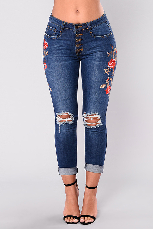 Lovely Trendy Embroidered Design Deep Blue Jeans