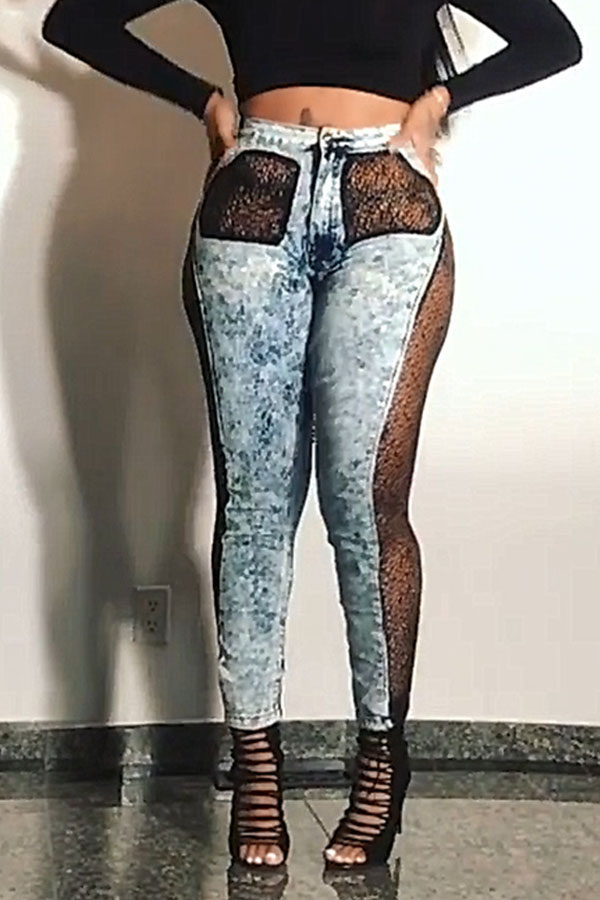 Lovely Sexy Patchwork Black Jeans