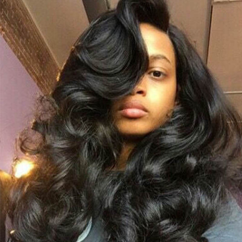 Lovely Casual Natural Looking Long Wavy Carbon Black Wigs