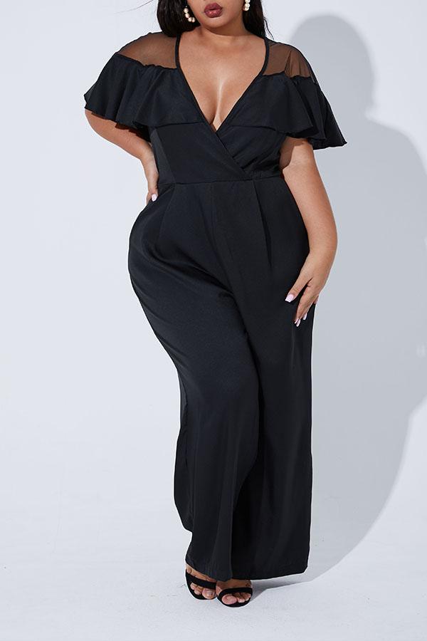 Lovely Casual Flounce Design Black Plus Size One-piece Jumpsuit