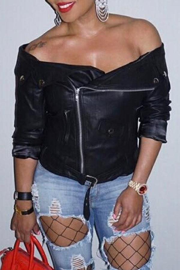Lovely Trendy Dew Shoulder Black Leather