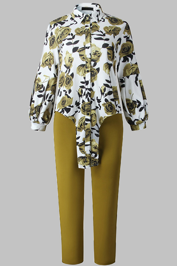 Lovely Casual Floral Printed Green Plus Size Two-piece Pants Set