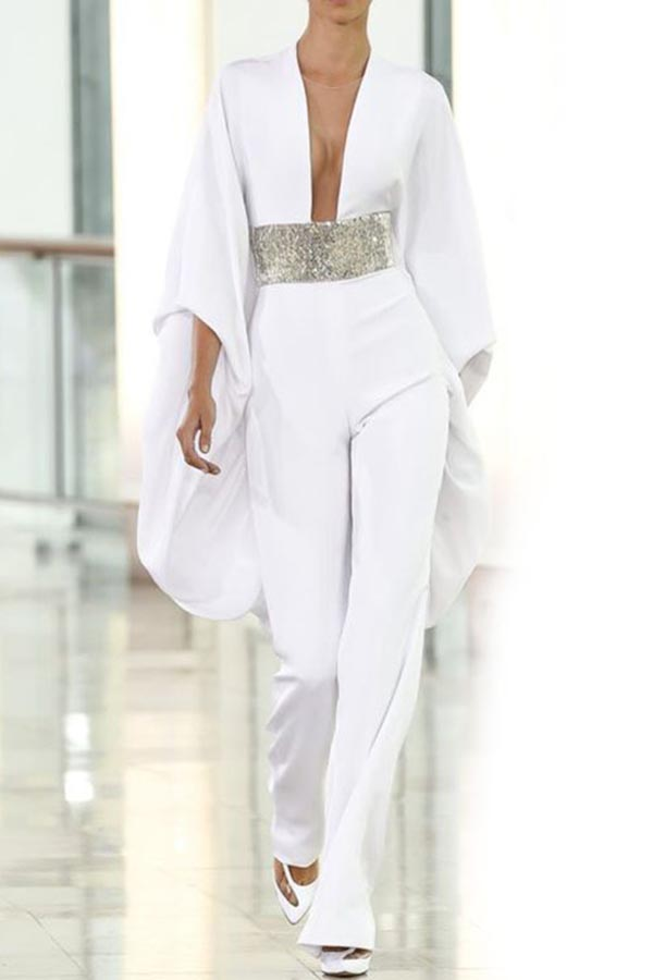 Lovely Casual Deep V Neck White One-piece Jumpsuit