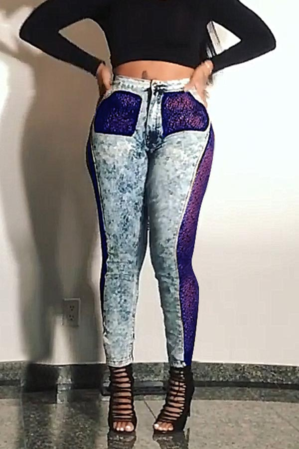 Lovely Sexy Patchwork Purple Jeans