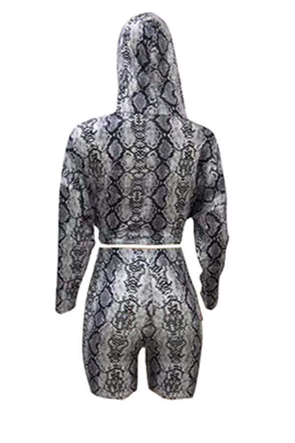 Lovely Casual Hooded Collar Printed Grey Two-piece Shorts Set