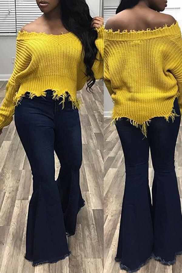 Lovely Trendy Asymmetrical Yellow Sweater