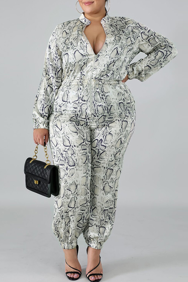 Lovely Trendy Printed Grey Plus Size One-piece Jumpsuit