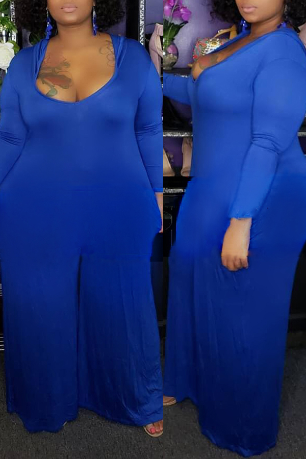 Lovely Casual U Neck Loose Blue Plus Size One-piece Jumpsuit