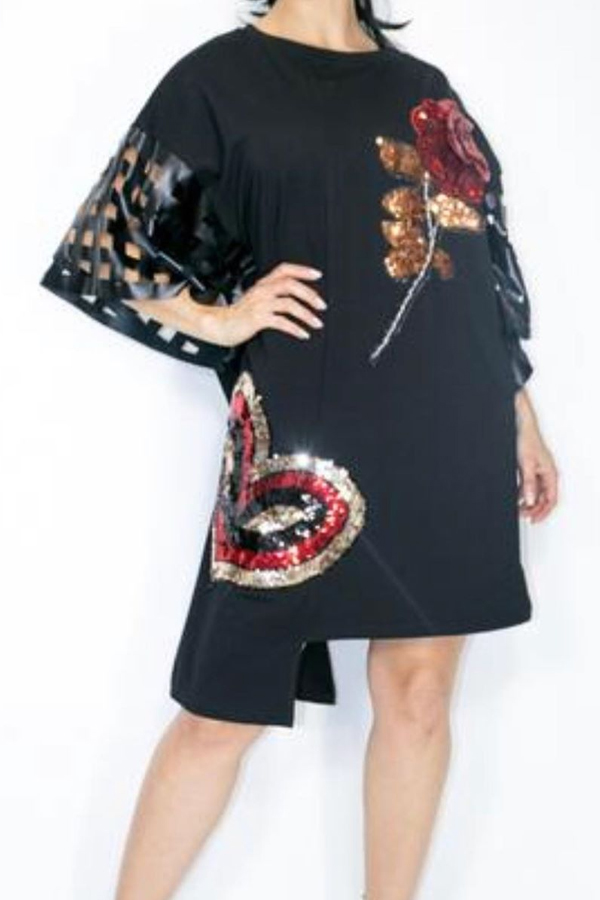 Lovely Casual Sequined Black Knee Length Dress