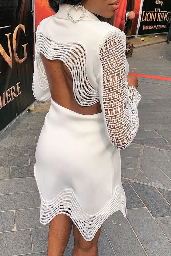 Lovely Casual V Neck Hollow-out White Mini Dress
