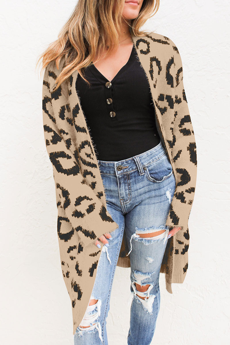 Lovely Euramerican Long Sleeves Leopard Cotton Blends Long Cardigans