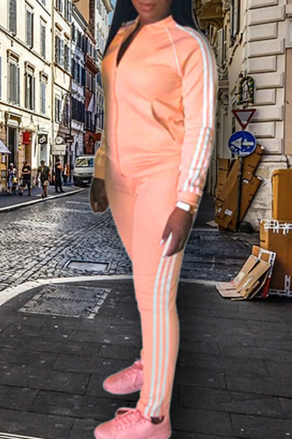 Lovely Casual Striped Clear Orange Two-piece Pants Set