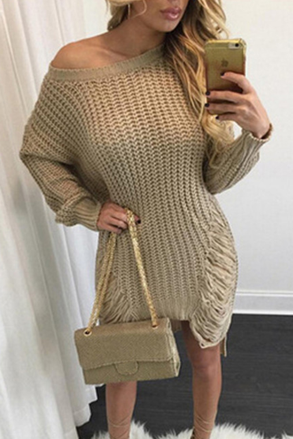 Lovely Trendy Asymmetrical Broken Holes Khaki Mini Dress
