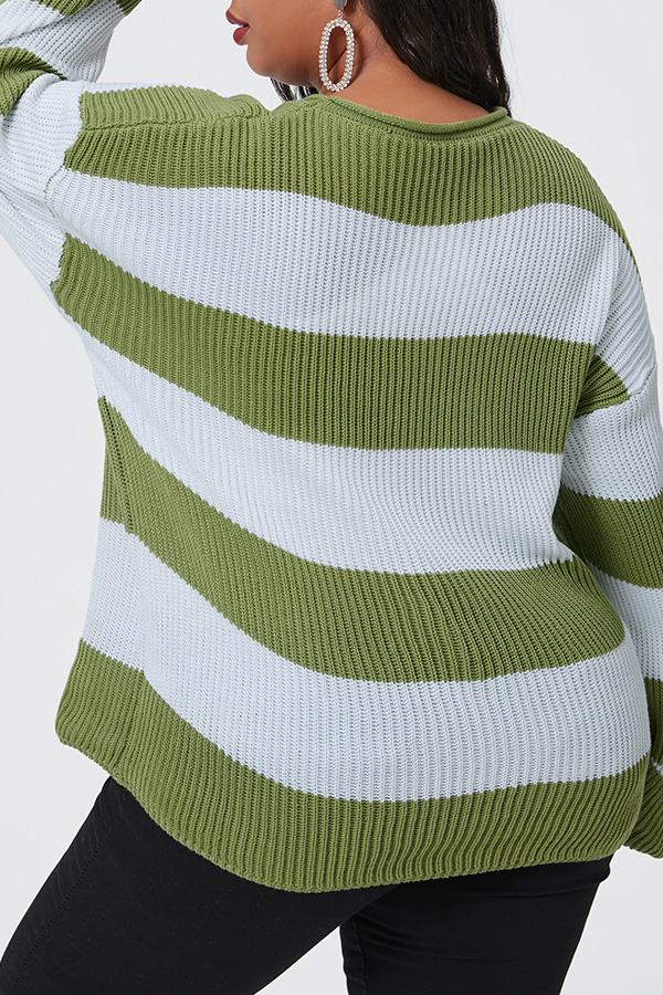 Lovely Casual Striped Green Plus Size Sweater