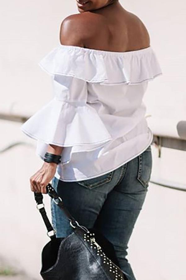 Lovely Sweet Flounce Design White Blouse
