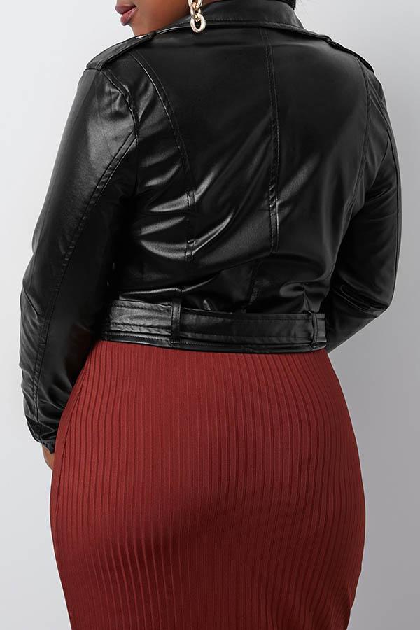 Lovely Stylish Turndown Collar Zipper Design Black Jacket