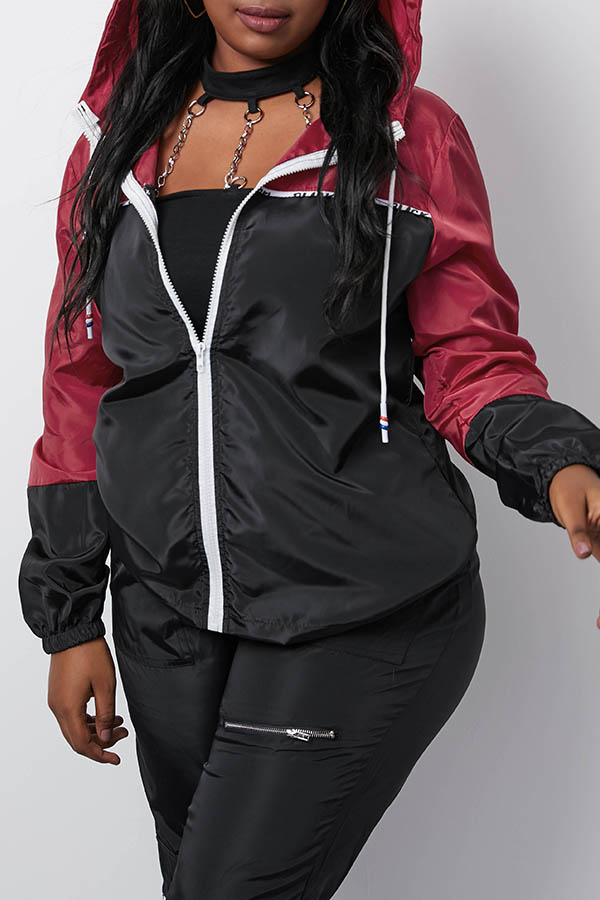 Lovely Casual Hooded Collar Patchwork Black Coat