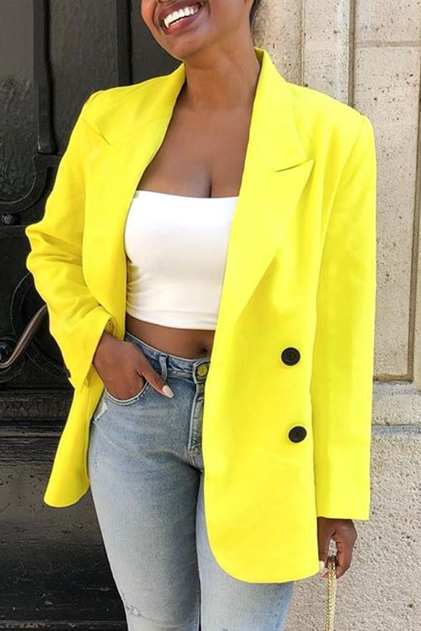 Lovely Casual Buttons Decorative Yellow Blazer