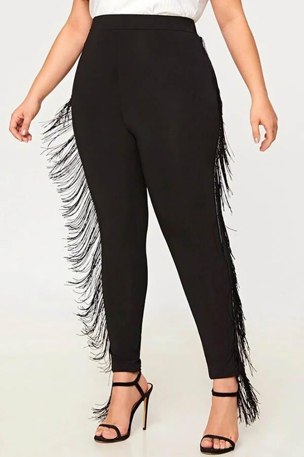 Lovely Casual Tassel Design Black Plus Size Pants