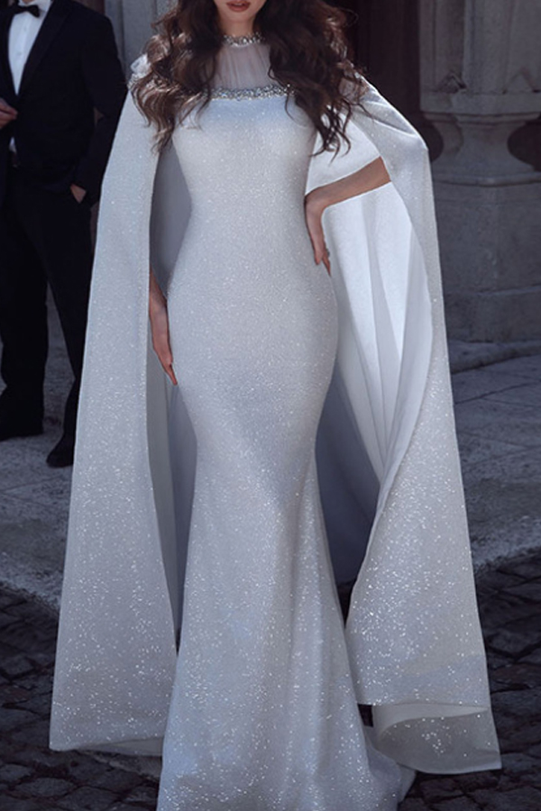 Lovely Party Cloak Design Silver Floor Length Trumpet Mermaid Prom Dress