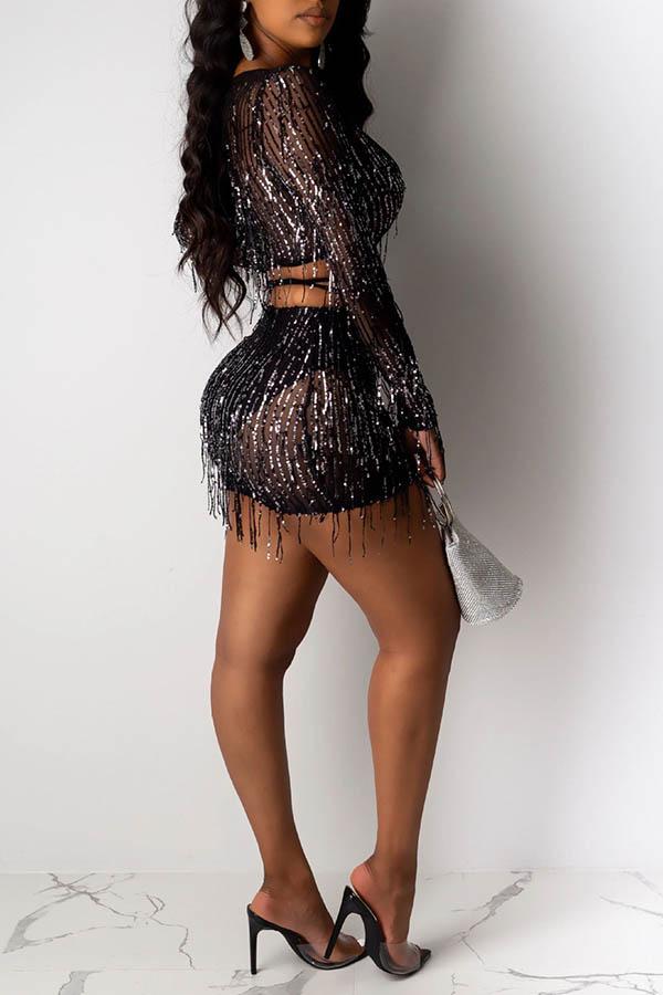 Lovely Sexy Tassel Design Black Two-piece Skirt Set