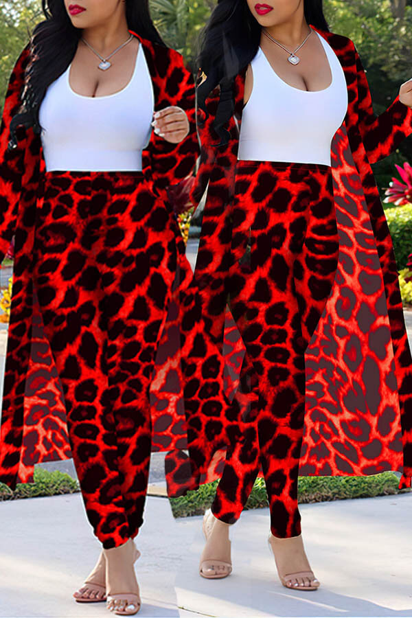 Lovely Casual Leopard Printed Red Plus Size Two-piece Pants Set(Without Tank Top) фото