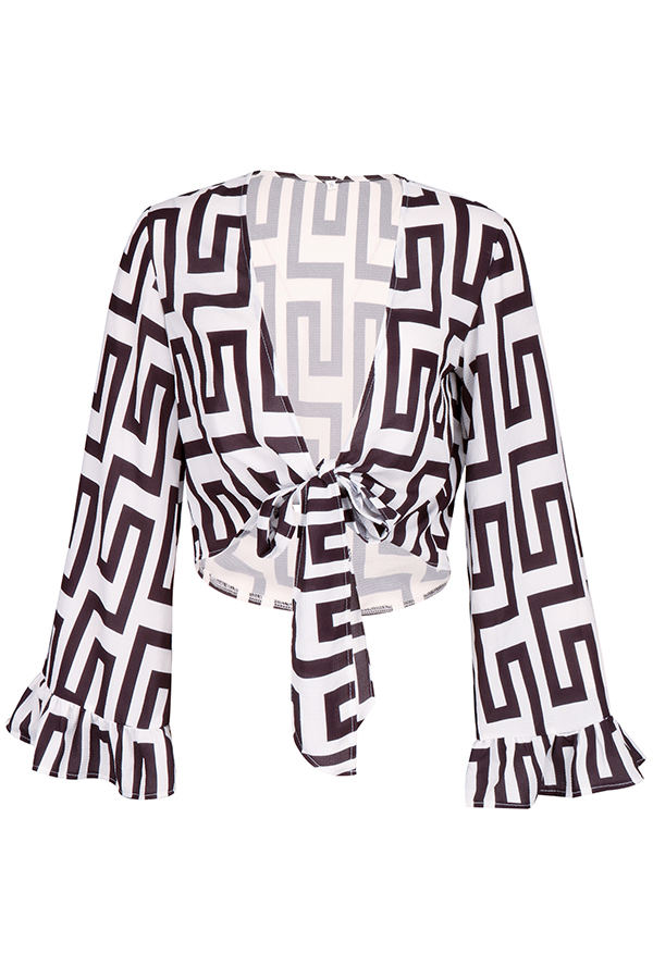 Lovely Casual Geometric Printed Black Blouse