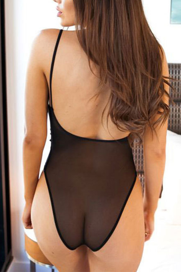 Lovely Sexy Hollow-out Skinny Black Teddies
